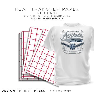 "Iron-on Heat Transfer Paper Light Fabrics - Red Grid 8.5"" x"