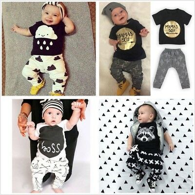 2pcs Newborn Toddler Infant Baby Boy Kids Clothes T-shirt Tops+Pants Outfits Set