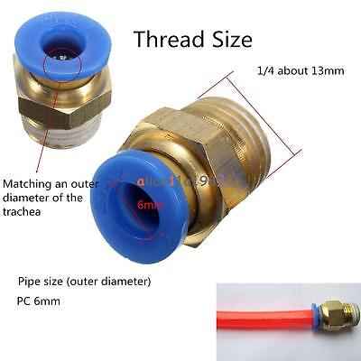 4pcs Bsp 14 - 6mm Straight Male Push In Fitting Pneumatic Pu Hose Connectors