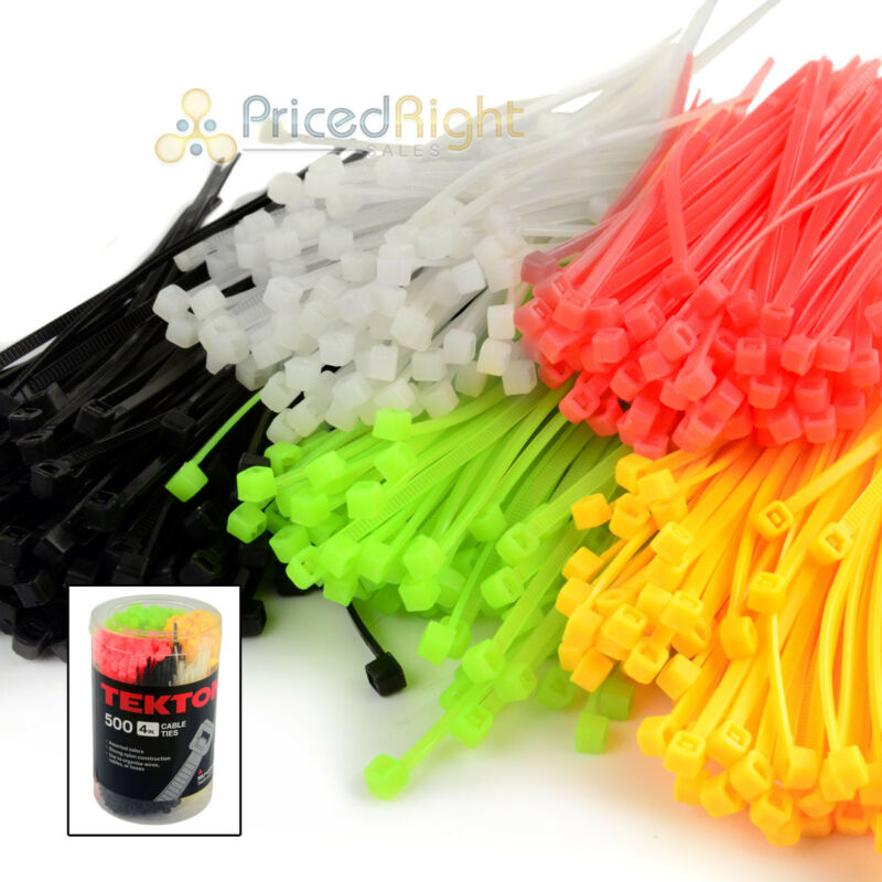 "500 Pack 4"" In Cable Ties Zip Tie Pack Assorted Colors Self Locking Tekton Nylon"