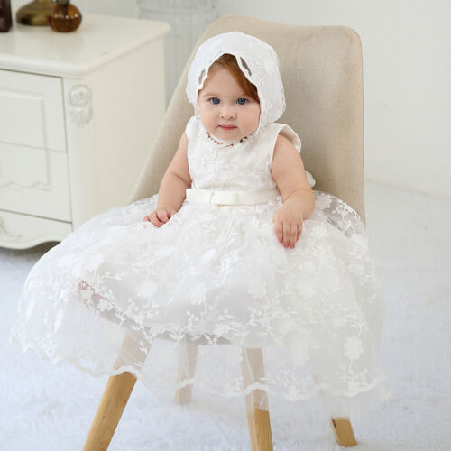 Coozy Baby Girl Christening Dress Baptism Gowns Birthday Wedding Special Occasion Dress With Bonnet