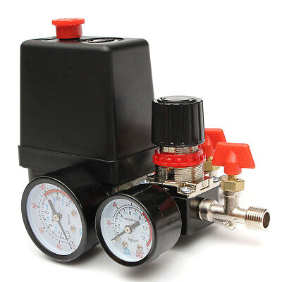 95-125psi Air Compressor Pressure Switch Control Valve Manifold Regulator Gauges