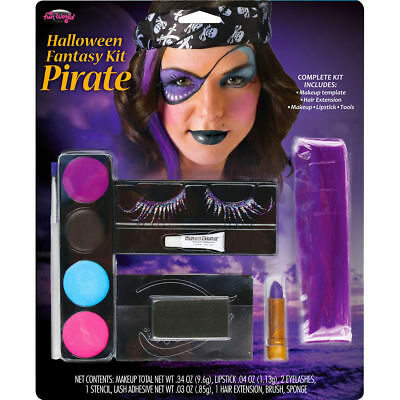 Halloween Fantasy Pirate Makeup Kit Includes Eyelashes Hair Extensions Fun - Fun World Halloween Makeup