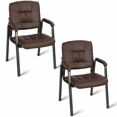 Set Of 2 Pu Conference Chair Reception Office Guest Lecture Exam Armchair Brown
