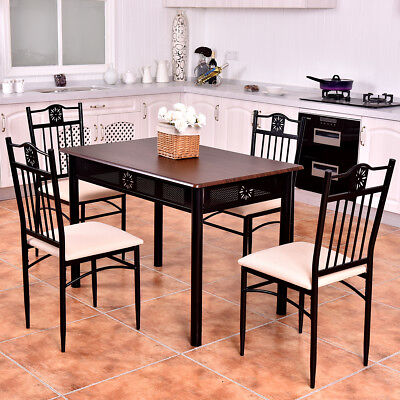 5 Lose control Dining Set Wood Metal Table and 4 Chairs Kitchen Breakfast Furniture New