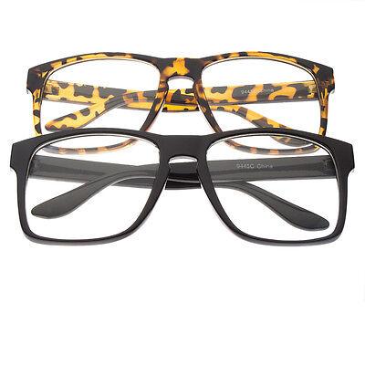 Clear Lens Black Frames Glasses Large Siz Fashion Nerd Geek Mens Womens (Black Geek Glasses)