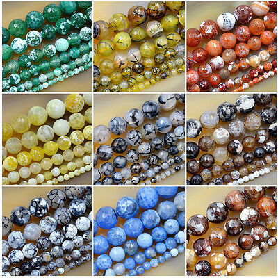 Agate Gemstone Loose Beads (Faceted Fire Agate Round Gemstone Loose Beads 15c 4mm 6mm 8mm 10mm 12mm)