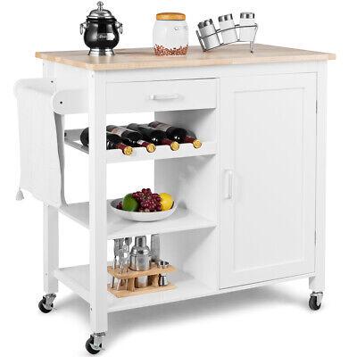 Kitchen Island Trolley Cart Wood Top Storage Cabinet w/ Wine