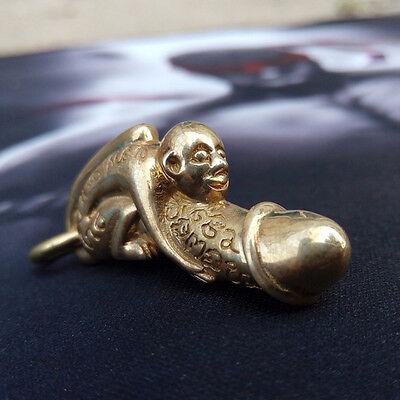 Thai Amulet Paladkik Monkey Miniature Brass Magic Holy Wealth LOVE Charm Luck