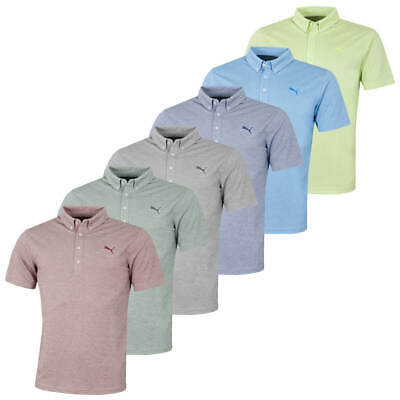 Puma Golf Mens Oxford Heather dryCELL Short Sleeve Polo Shirt Top 45% OFF RRP