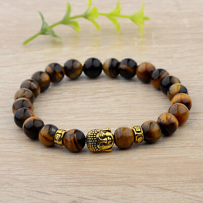 8mm Natural Tiger Eye Beads Buddha Head Women Men Yoga Energy Bracelets Gift