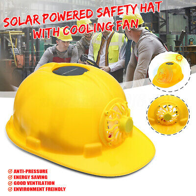 Yellow Solar Energy Cooling Fan Safety Construction Work Protect Helmet Hard Hat