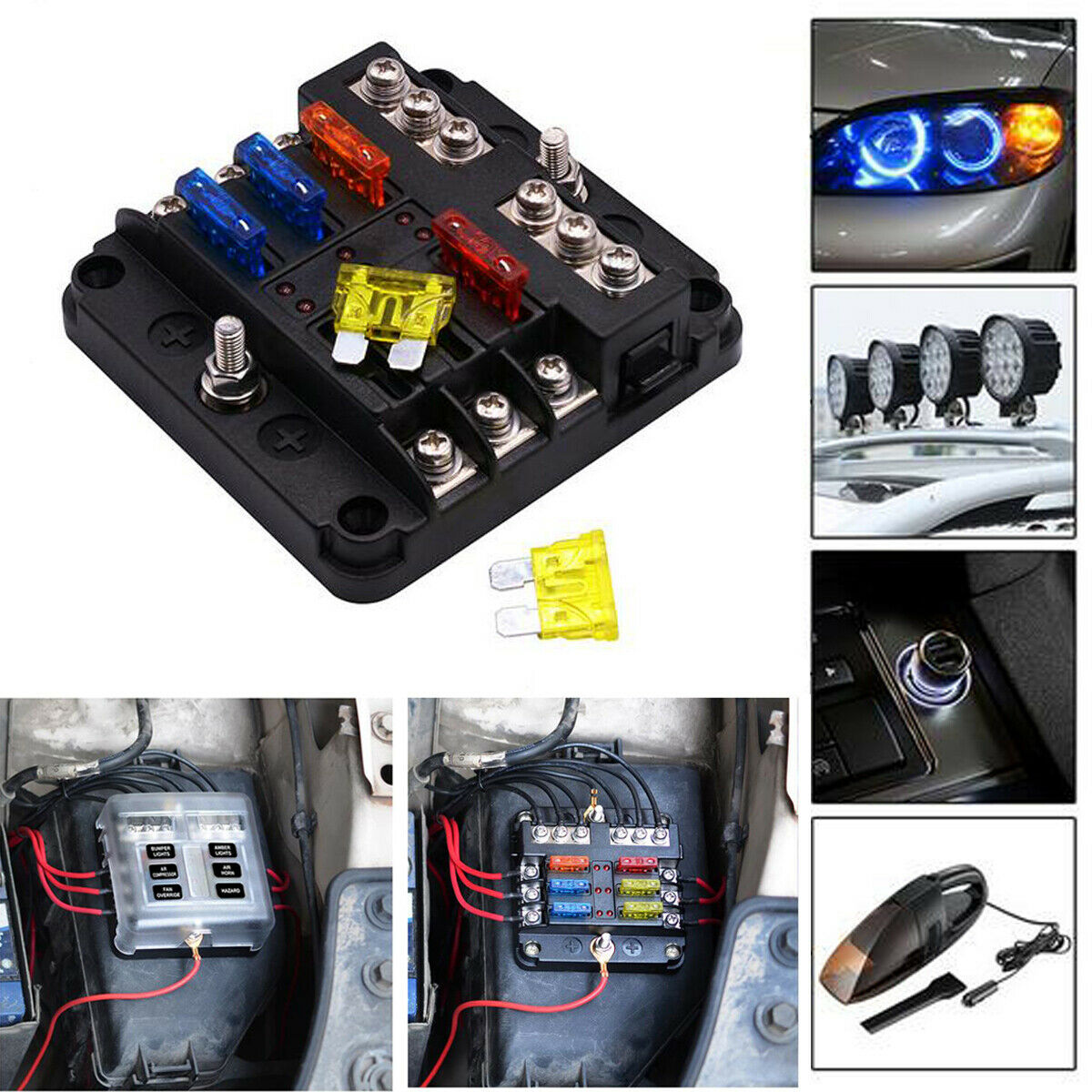 details about 6 way 12v~32v auto car power distribution blade fuse holder box  block board uscc