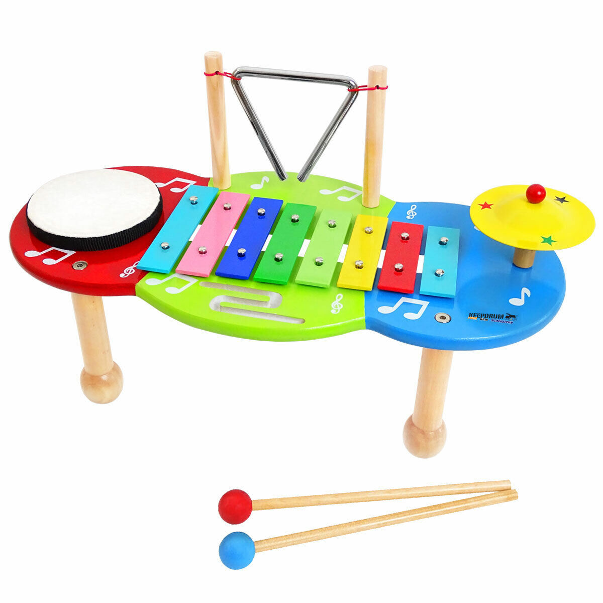 KEEPDRUM Musiktisch Glockenspiel Schlagzeug Spiel-Tisch Kinder-Percussion-Set