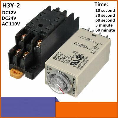 H3y-2 Dc 12v24v Ac 110v Power On Time Delay Relay Solid-state Timer Dpdt Socket