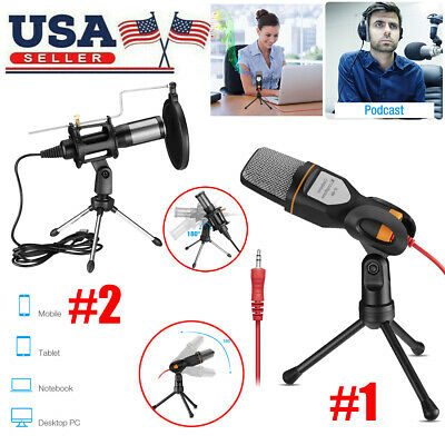 3.5mm USB Microphone Mic Condenser Recording Studio Tripod Stand for Chat Live