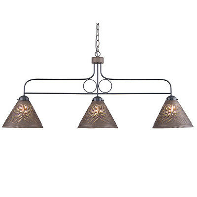 (WOOD and WROUGHT IRON BAR LIGHT Rustic Country Island Kitchen Punched Tin Shades)