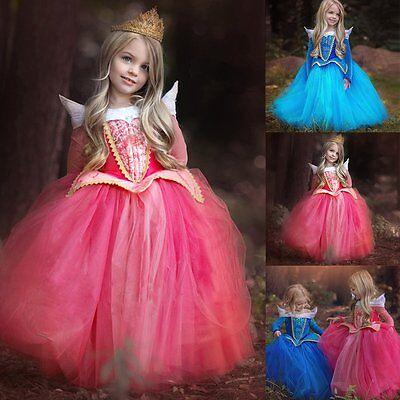 Elsa Aurora Kleid Eiskönigin Frozen Kostüm Prinzessin Cosplay Karneval Kinder DE