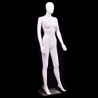 5.8 Ft Female Mannequin Egghead No Face Full Size Body Display Base Metal Stand