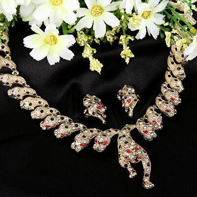 Leopard Head Clip-on Earrings Jewelry Set Animal Austrian Crystal Gold GP Women