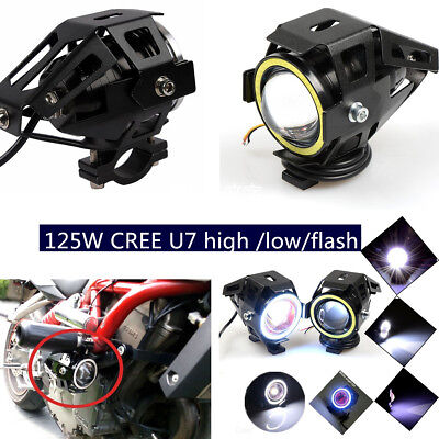 2PCS 125W CREE U7 Motorcycle high /low/flash Driving Fog Spot Light Bulb &Switch