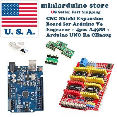 Arduino CNC V3 Shield Mill Router Engraver Robot + 4x A4988 + UNO R3 CH340g USA