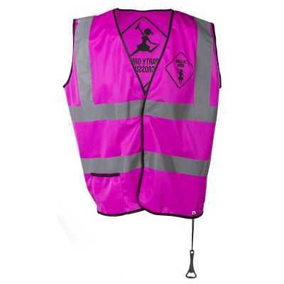 Warnweste Girls at Work pink Flaschenöffner Karneval Junggesellinnenenabschied