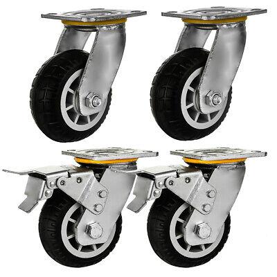 4 Pack 5 Heavy Duty Caster Wheel Black All Terrain Casters 2 Plate 2 Brake