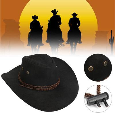 Hero Style Retro Black Western Cowboy Cowgirl Hat Men Women Riding Cap Wide -