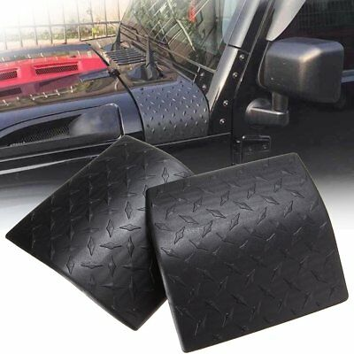 2X Black Cowl Body Armor Cover Diamond Plate Trim For 2007-17 Jeep Wrangler JK