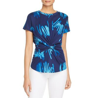 Kenneth Cole Womens Navy Printed Knot-Front Tee Casual Top Shirt M BHFO 7452