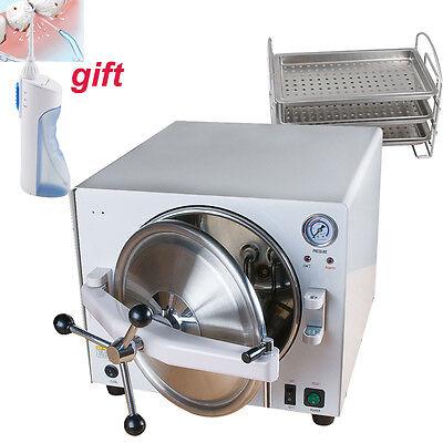 900w Dental Lab Autoclave Sterilizer Steam Disinfection Sterilization 3 Tray 18l