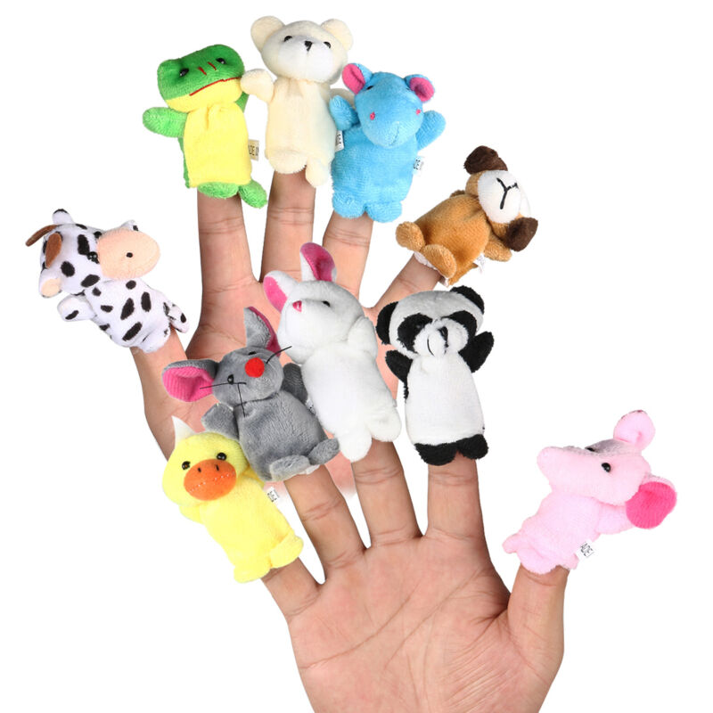 10pcs Cartoon Family Finger Puppets Cloth Doll Baby Educational Hand Animal Toy