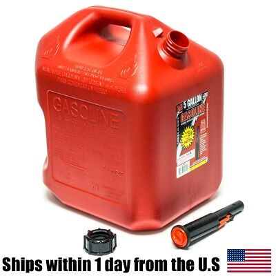 Fuel Gas Can Container Red Plastic 5 Gallon EPA CARB Compliant MIdwest 5600 Poly ()