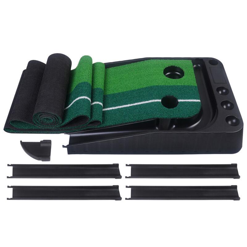 Golf Practice Putting Mat Training Green Grass Auto Return Indoor/Outdoor 2 Size