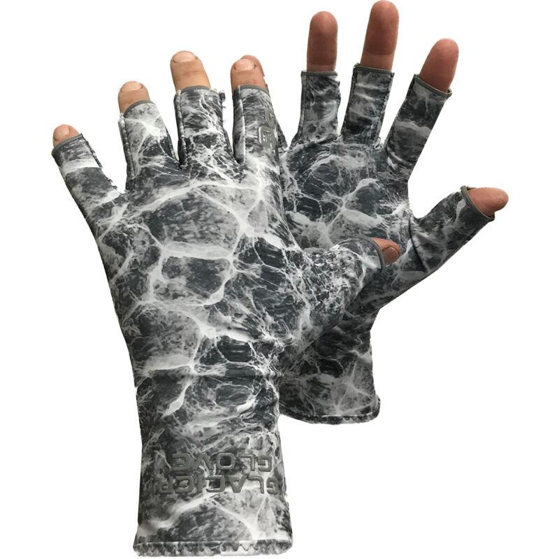Glacier Glove Abaco Bay Fingerless Sun Gloves - Gray Water Camo