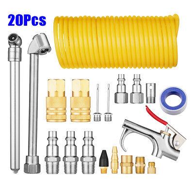 20PCs Air Compressor Fittings Accessory Tool Kit Dust Blow Gun Hose Gauge UK