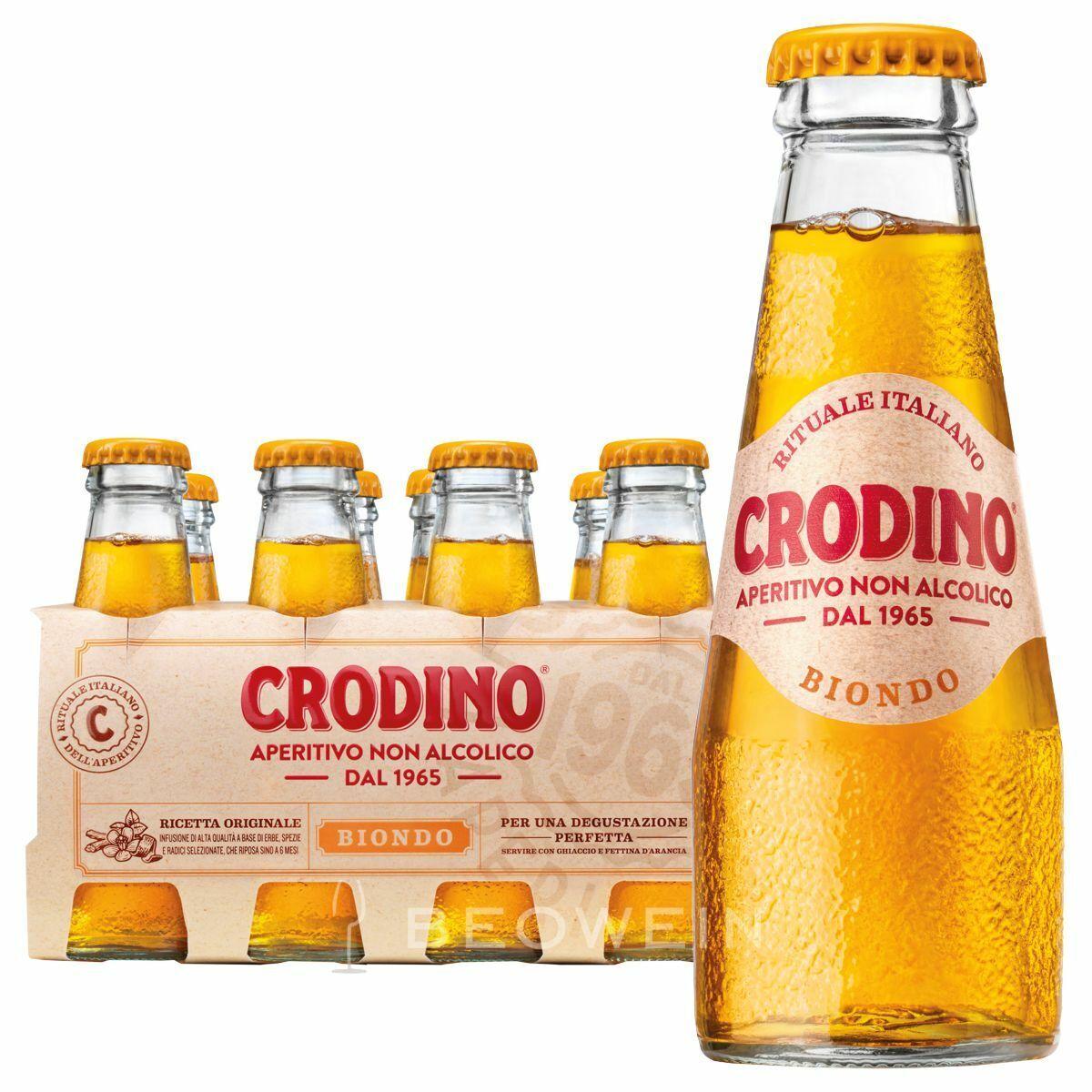 Crodino alkoholfreier Bitteraperitif, Packung mit 8 Flaschen je 9,8 cl – 0,098 l