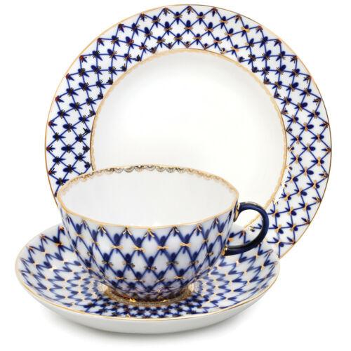 Cobalt Net Teacup, Saucer, Plate Set by Imperial Porcelain Russian Lomonosov LFZ