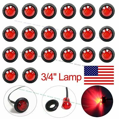 "20X Mini 3/4"" Red LED Clerance Marker Bullet Lights Lamps for Truck Trailer Bus"
