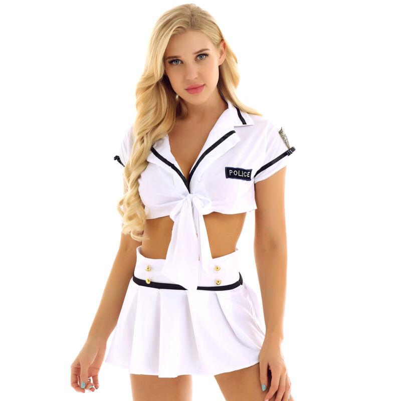 2pcs School Girl Costu Cheerleader Cosplay Uniform Lingerie Set SleepwearBLUS