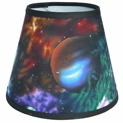 Custom Made Lamp Shades - Cosmic Plantets Fabric Custom Made Handcrafted Lamp Shade 6 x 10 x 8 Novelty