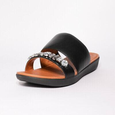 Womens Fitflop Delta Bejewelled Leather Black Slide Sandals (TGF30) RRP £94.99