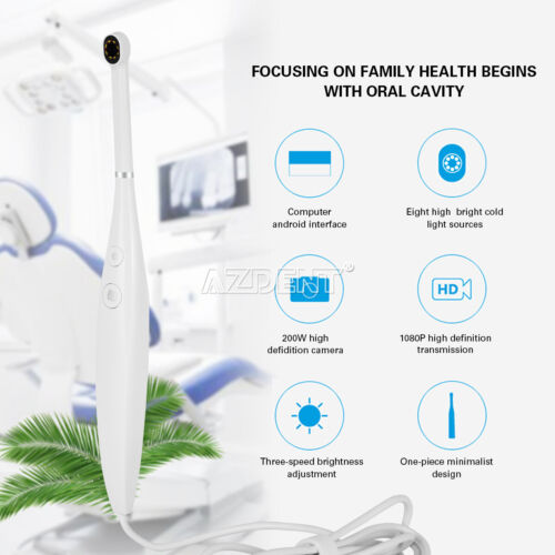 Dental USB Intraoral Camera Oral Endoscope Real-time Video 8 LED 10mm-20mm 1080P