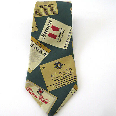 Vtg Chardonnay Wine Labels Necktie Tie by Slazenger After Golf CA Vineyards