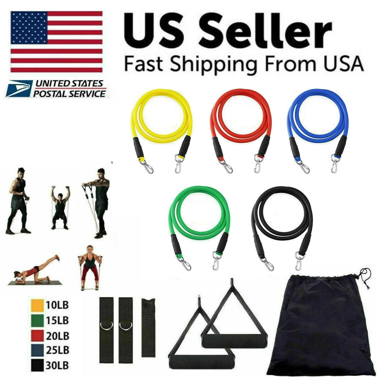 11Pcs Set Resistance Bands Workout Exercise Yoga Crossfit Fitness Training Tubes Fitness Equipment & Gear
