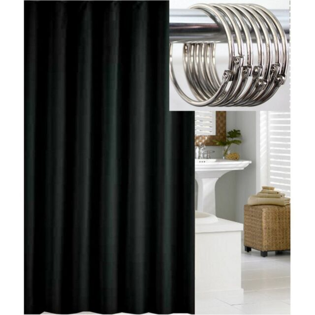 Special Solid Black Shower Curtain 2.2m Metal Rings | eBay