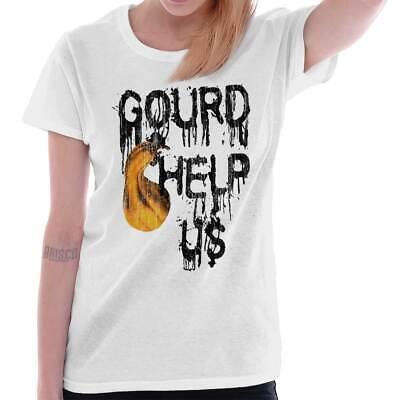 Gourd Help Us Halloween Gift Spooky Trick Treat Haunted Cool Ladies Tee Shirt T