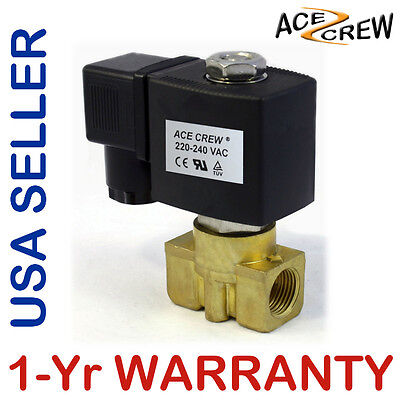 Viton 38 In 220v-240v Ac Brass Solenoid Valve Npt Gas Water Air Normally Closed