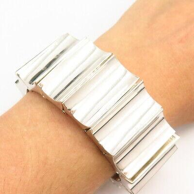 """925 Sterling Silver Vintage Mexico Massive Modernist Panel Link Bracelet 6.5"""""""